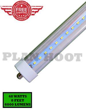 Single Pin 8 Feet 48 Watt 5000k F96t12 T8 Fa8 Replacement Led Clear Lens Tube Light