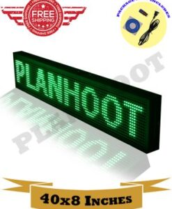 40X8 Green LED Sign, Scrolling, Programmable, Digital Display, Blue Color