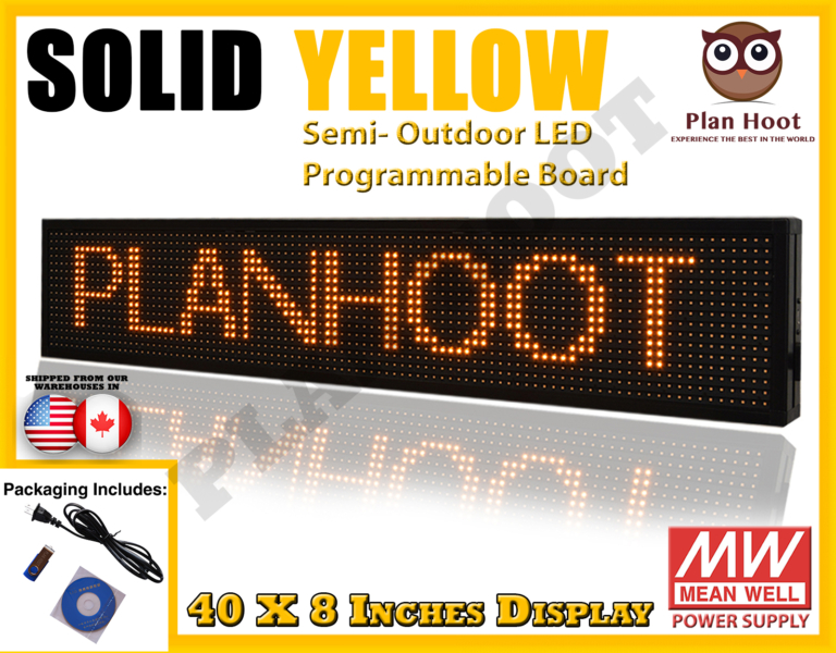 Yellow Colored 40 Quot X8 Quot Wifi Mobile App Semi Outdoor Led