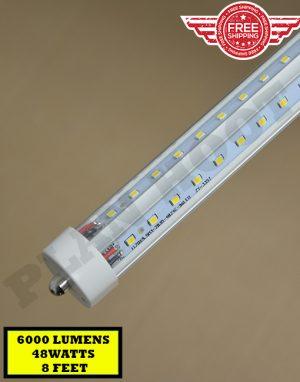 8ft V Shaped Single Pin Led 48w 5000k F96t12 T8 Fa8 Fluorescent Replacement Tube