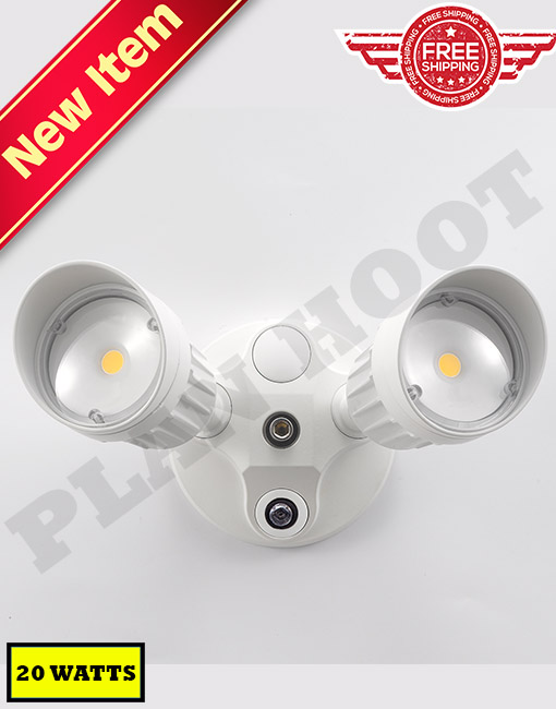 20 watt white led security light with dusk to dawn. Black Bedroom Furniture Sets. Home Design Ideas