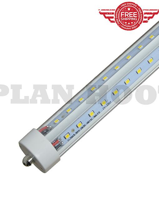 Single Pin V Shaped 8 Feet 48 Watt 5000k 6500k F96t12 T8 Fa8 Replacement Led Clear Lens Tube Light