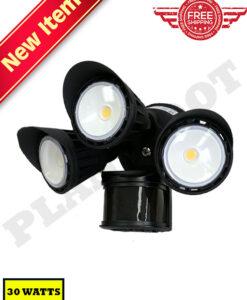 30W Motion Sensor Security Light Black Color Finish