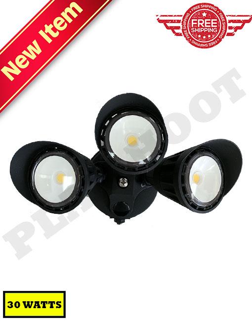 30W Photocell Dusk to Dawn Security Light Black