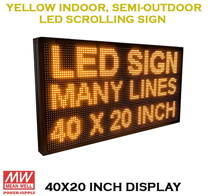 YELLOW 40X20 Inches Wifi Semi Outdoor LED Sign Programmable Scrolling  Message Display Board